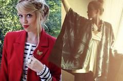"""Jasmin von Tea&TwigsVintagefundstücke, DIY-Tutorials und Outfitposts – die blonde Jasmin sieht nicht nur aus wie Rapunzel sondern inszeniert sich genauso märchenhaft auf ihren Fotos. Ihr liebster Herbsttrend: """"Irgendwas schnell überwerfen und gut aussehen hört sich utopisch an, aber bei Ponchos, Shrugs und Capes ist es tatsächlich der Fall und das macht die kuscheligen Varianten davon zu meinem absoluten Lieblings-Trend."""" (Cape von Urban Outfitters)"""