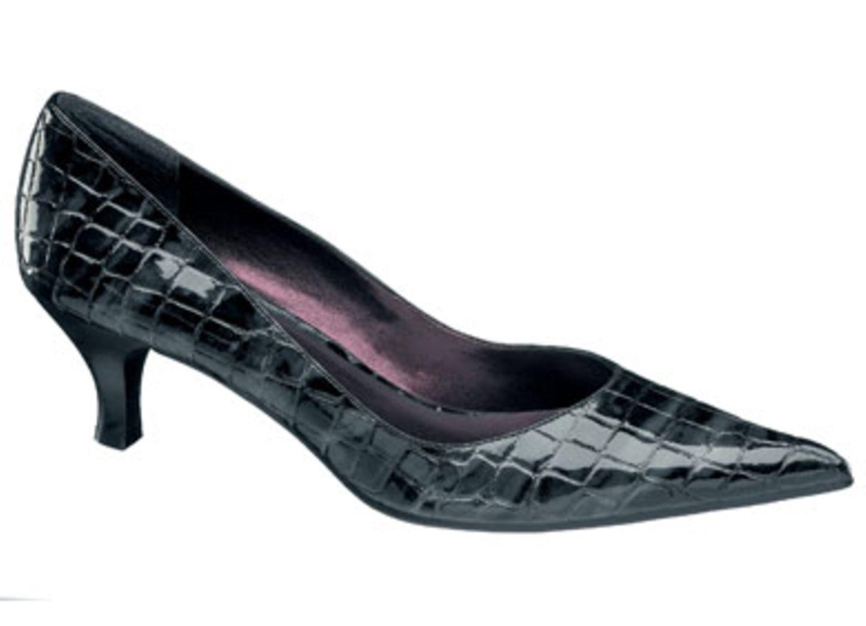 Grau-schwarzer Lackpumps in Kroko-Optik; 19,90 Euro; von Graceland / Deichmann