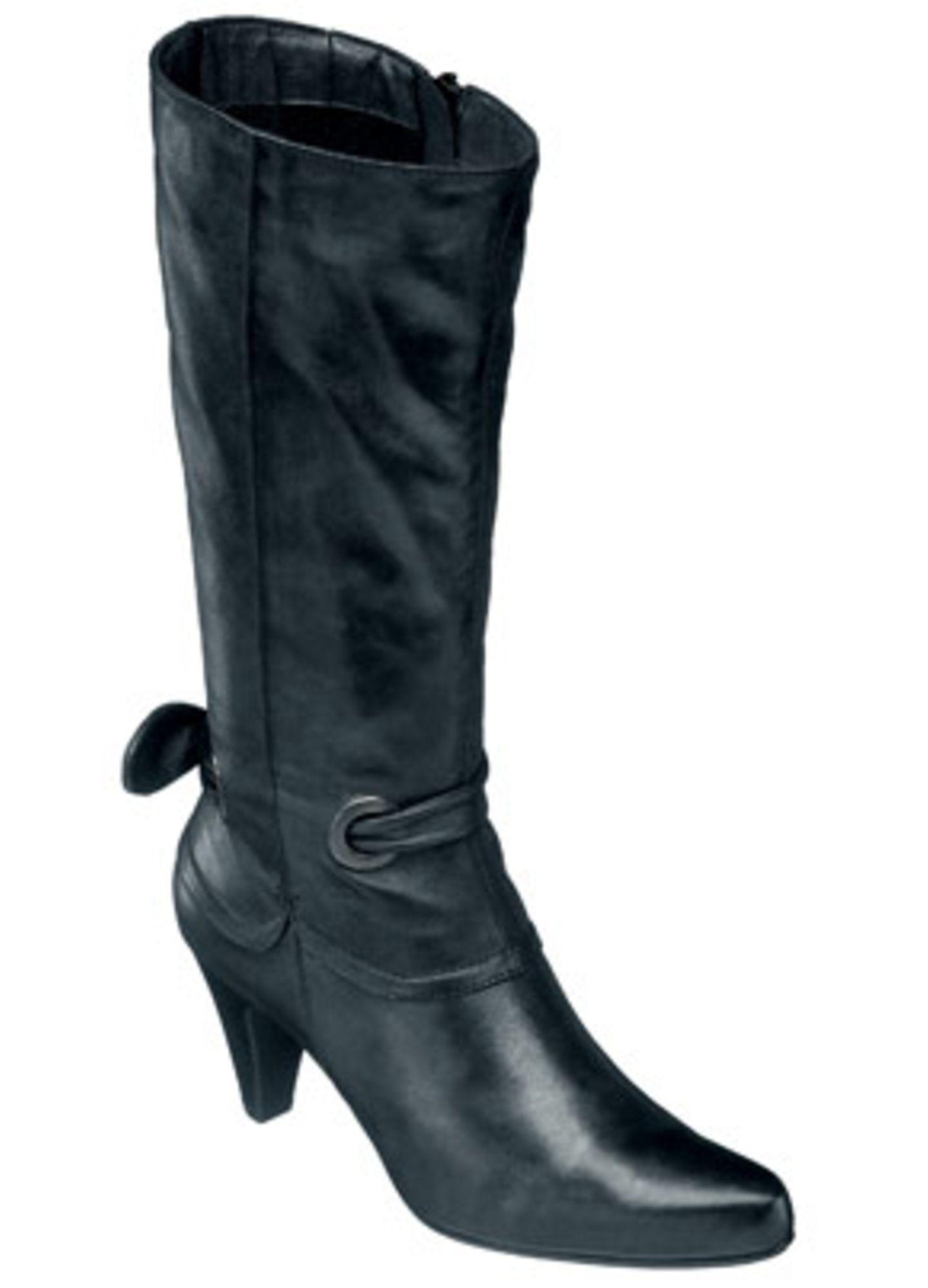 Langschaftstiefel mit Schlauchband in dunkelgrau metallic; 130 Euro; von Varese woman über Roland-Schuhe