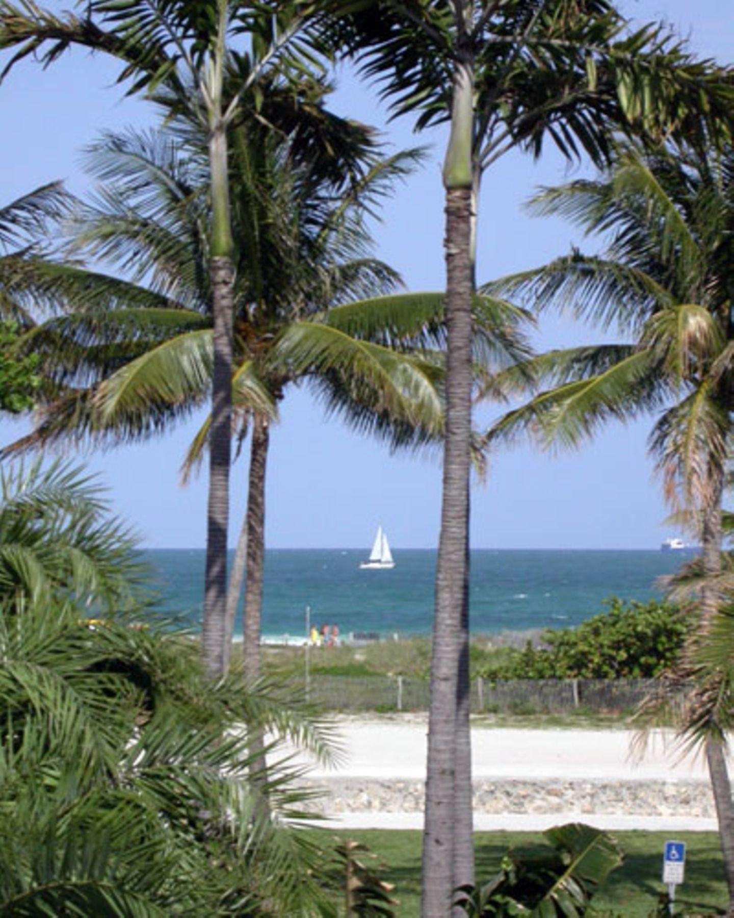 Blick vom Ocean Drive auf den vorderen Strandabschnitt von Miami Beach.