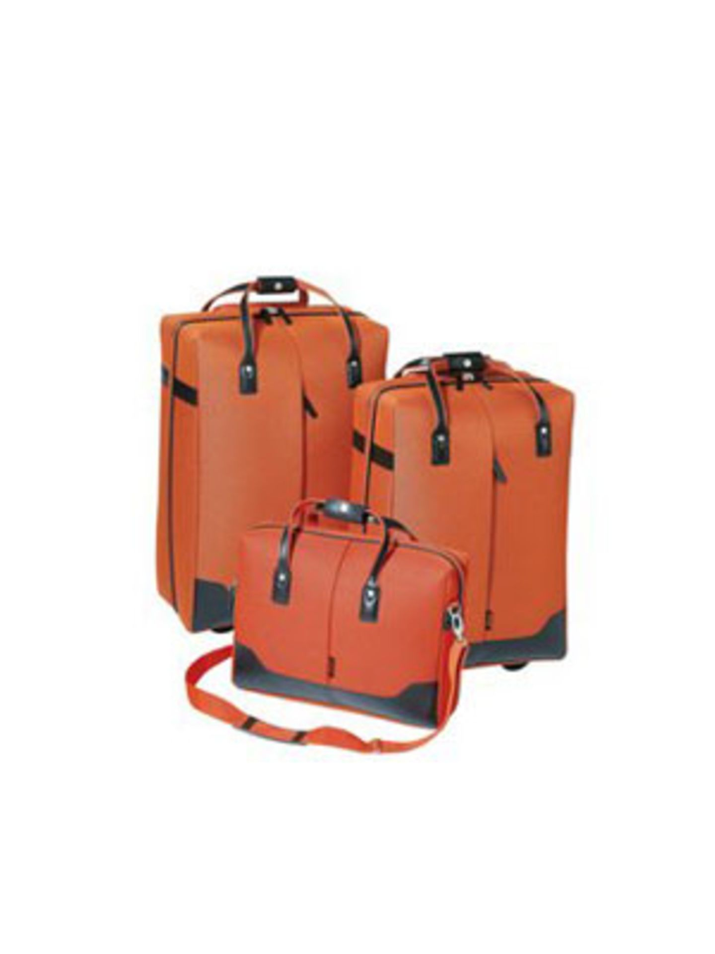 Schickes Kofferset in Orange bestend aus zwei Trolleys und einer Laptop-Tasche von Sioux, um 120 Euro. Über www.otto.de.
