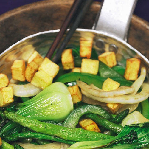 Röstkartoffeln mit Wok-Gemüse