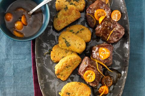 Rehmedaillons mit Orangensoße