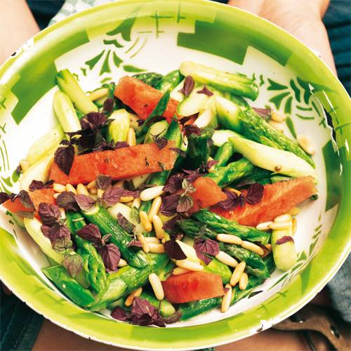 Spargelsalat mit Melone