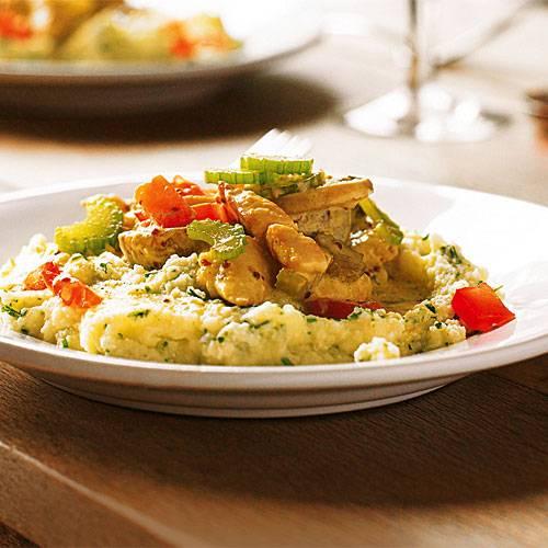 Schnelle Gerichte: Senf-Hähnchen mit Kräuter-Kartoffelbrei