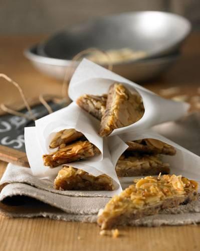 Winterliche Knabberspaß: Diese süßen Leckerbissen werden mit Mandeln und Walnüssen belegt und großzügig mit Honig bestrichen. Sündhaft lecker!