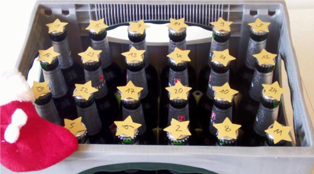 Adventskalender mit Flaschen