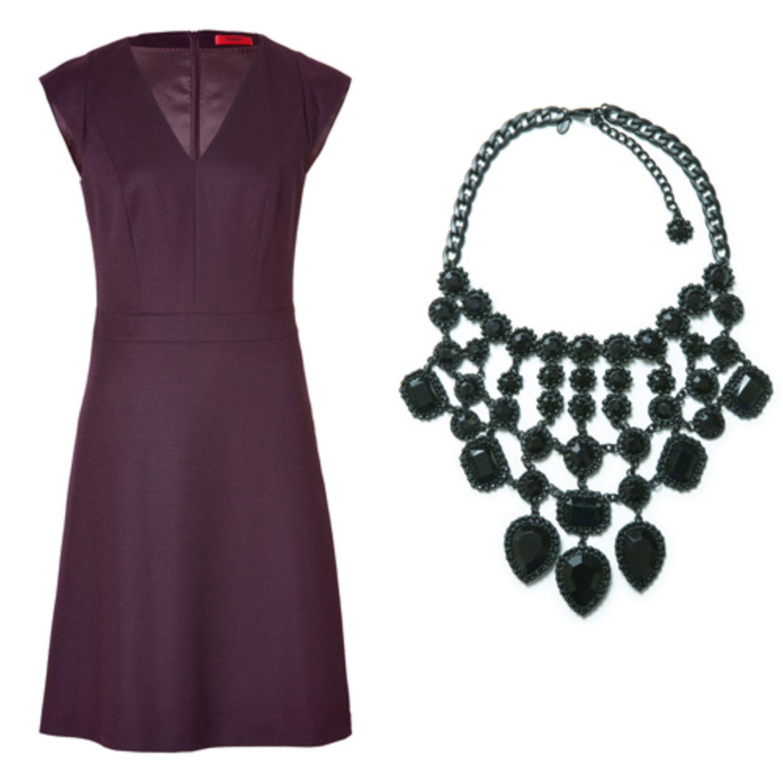 Kleid aubergine Kette grün