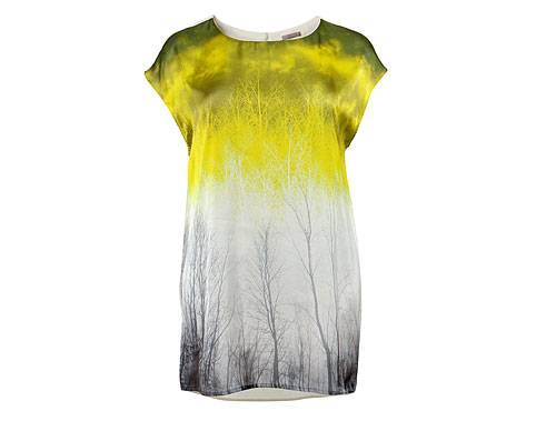 H&M-Shirt Waldprint gelb-grau