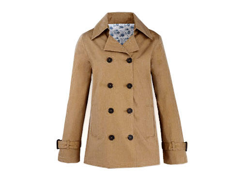 Doppelreihiger Parka Beige Simply Be