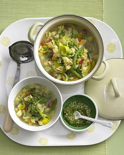 Sommergemüsesuppe mit Pesto