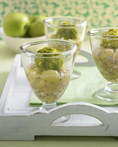 Grüne Grütze mit Pistazien-Eis