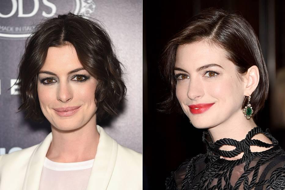 Mittelscheitel und Seitenscheitel an Anne Hathaway