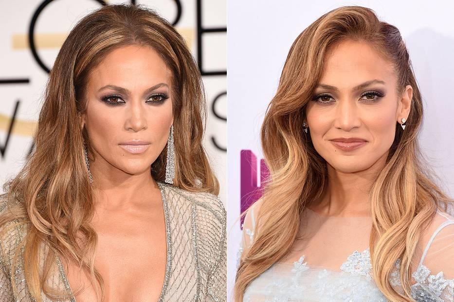 Mittelscheitel und Seitenscheitel an Jennifer Lopez