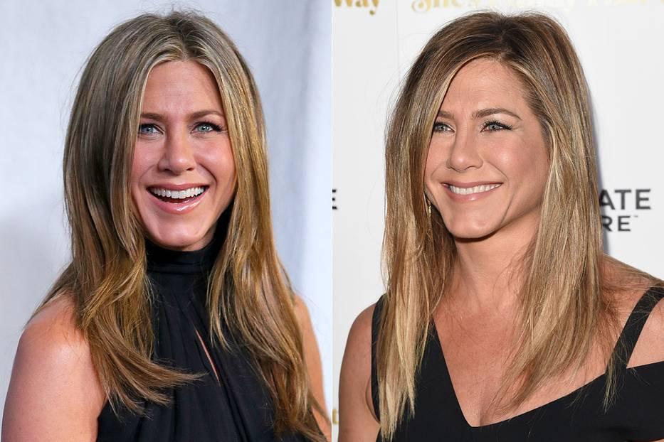 Mittelscheitel und Seitenscheitel an Jennifer Aniston