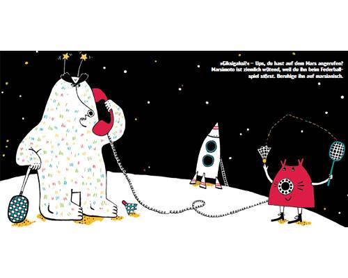 """Das lustigste Bilderbuch 2012: .. und erzählen dann wieder dem Außerirdischen Marsimoto Geschichten auf Marsianisch (Giksigaksi?). Jede Seite überrascht mit neuen Ideen und schrägen Illustrationen. Das Besondere: """"Nicht nur über das Buch selbst wird viel gelacht, sondern auch über die Faxen, die die Kinder mit dem Buch machen"""", so die BRIGITTE MOM-Leserinnenjury. So macht Vorlesen auch den Eltern Spaß!"""