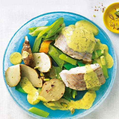 Seelachs mit Curry-Senf-Soße