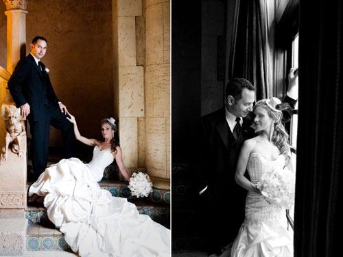 Nach der Zeremonie post das frischvermählte Paar für ein paar Aufnahmen.