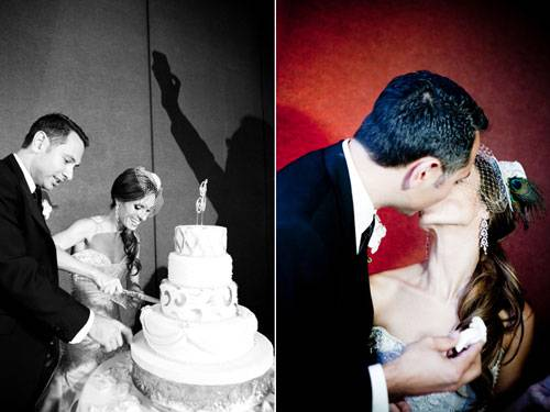 Der erste Schnitt und der erste Happen geht natürlich an das Brautpaar.     Mehr bei BRIGITTE.de: Bilder einer romantischen Hochzeit Bilder: Heiraten in Florida Das große BRIGITTE-Hochzeits-Special