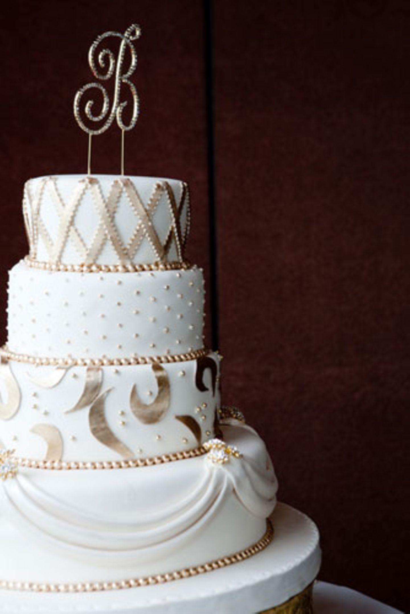 Zum Anbeißen schön: Die Hochzeitstorte.
