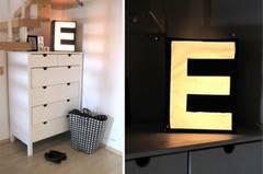 Lampe mit Leuchtbuchstaben