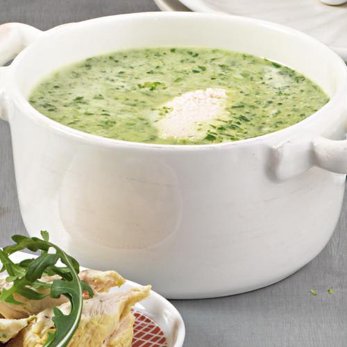 Grüne Kokossuppe mit Hähnchen