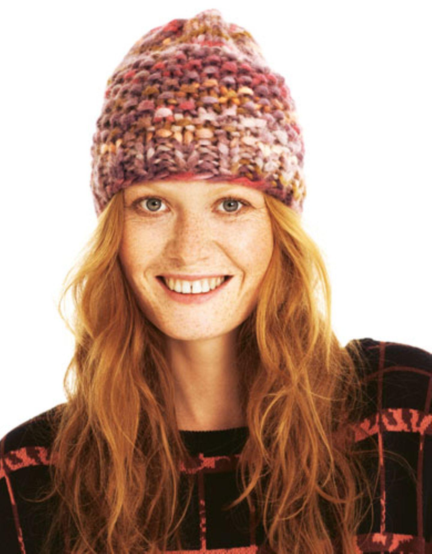 Mustermix-Mütze Jede Masche eine Perle. Und der warme Farbmix macht gute Laune. Zur Anleitung: Mustermix-Mütze stricken