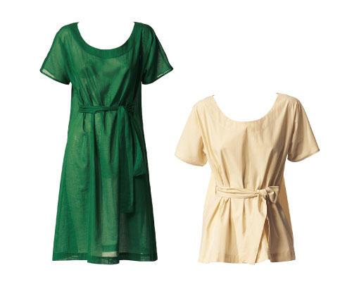 Kleid und Bluse mit Gürtel