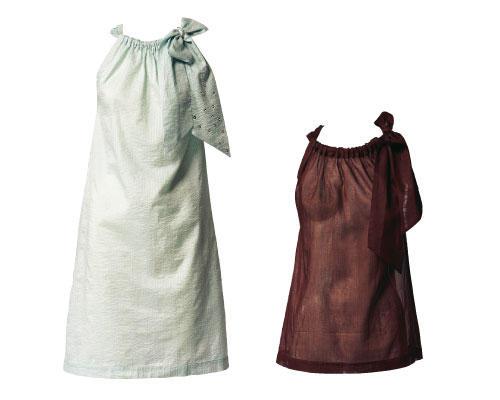 Kleid und Bluse mit Dekoschleife