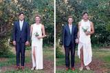 Wir gehören zusammen: Sich in der Kleidung des anderen fotografieren zu lassen, drückt auch Verbundenheit aus. Bei diesem fröhlichen Brautpaar wird das besonders deutlich.