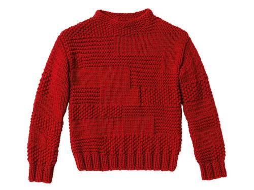 Glatt rechts, kraus rechts - so entsteht das Perlmuster, mit dem Sie diesen Pullover im Mustermix stricken. Sieht super aus, braucht aber etwas Zeit.  Zur Anleitung: Pullover im Mustermix stricken.
