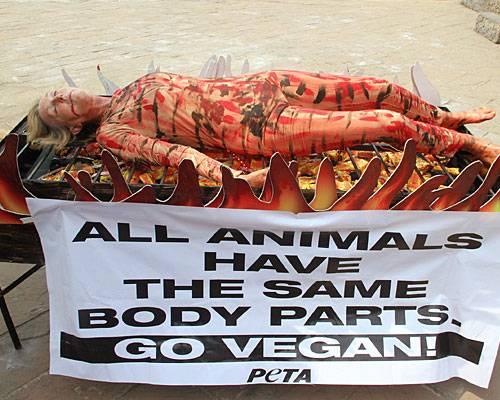 """Peta-Gründerin: """"Menschliches Barbecue"""" nannte Ingrid Newkirk diesen Auftritt in Mumbai, für den sie sich selbst auf einen XXL-Grill legte. Normalerweise macht sie so was nackt, nicht aber in Indien, der Landessitte wegen. Mit der Aktion will sie der Welt zeigen: Wir alle sind Tiere. Mein Fleisch ist nicht anders als das einer Krabbe. Beute kein Tier aus, knechte es nicht, töte es nicht, um es zu essen. Das ist ihre Botschaft und die Botschaft der Tierrechtsorganisation """"Peta"""", die Newkirk gegründet hat. """"Peta"""" steht für """"People for the Ethical Treatment of Animals"""". Wie radikal darf Tierschutz sein? Diskutieren Sie mit in der BRIGITTE Community"""