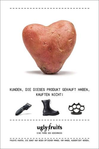 Lebensmittelverschwendung: Wer ein Herz für Kartoffeln hat, hat auch die richtige politische Gesinnung, so die Botschaft dieses Plakats.