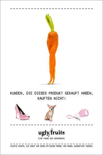"""Lebensmittelverschwendung: """"Wer außergewöhnliche Früchte kauft, braucht keine stumpfsinnigen Produkte"""" - darum geht es in der """"Ugly Fruits""""-Kaufentscheidungskampagne. Verwachsene Möhren sind eben nix für Tussis, sondern für umweltbewusste Verbraucher."""