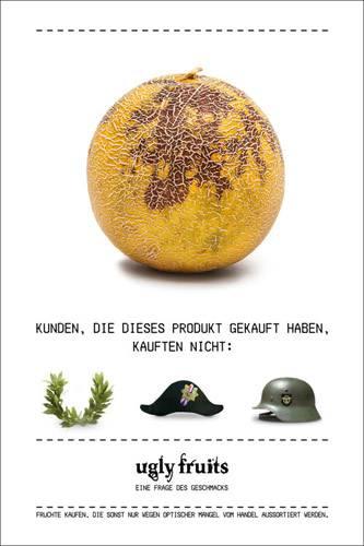 Lebensmittelverschwendung: Wer will schon gern in der Militarismus-Ecke stehen? Dann lieber fleckige Melonen kaufen...