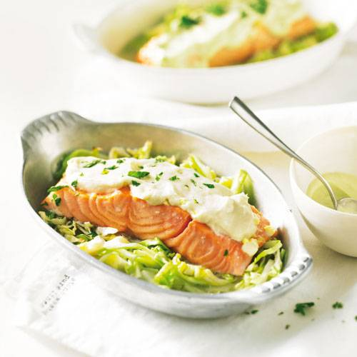 Kalorienarme Rezepte: Lachssteaks mit Wasabi-Mayo