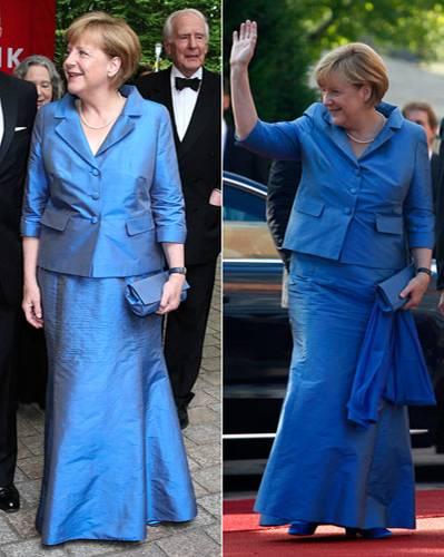 Angela Merkel und das blaue Kleid