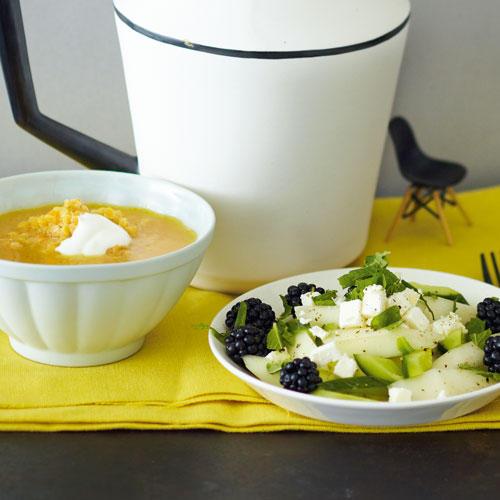 Linsen-Orangen-Suppe & Melone-Brombeer-Feta-Salat