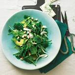 Den grünen Salat machen wir mit Blattspinat, Fenchel, Avocado und Cashewkernen. Dazu gibt's ein Dressing mit Pastis (französischem Anisschnaps). Zum Rezept: Spinatsalat mit Pastis-Dressing