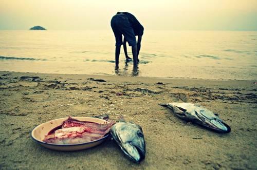 """Reise-Kochbuch """"Spices & Spandex"""": Aus dem See auf den Teller: In Malawi reinigt Tom frisch gefangenen Fisch in einem See, bevor er ihn zubereitet. Tom liebt es, so zu essen und zu reisen: """"Mein größtes Glück ist es, draußen zu sein und etwas Neues zu erleben"""", schreibt er auf seiner Website """"The Nomadic Kitchen""""."""