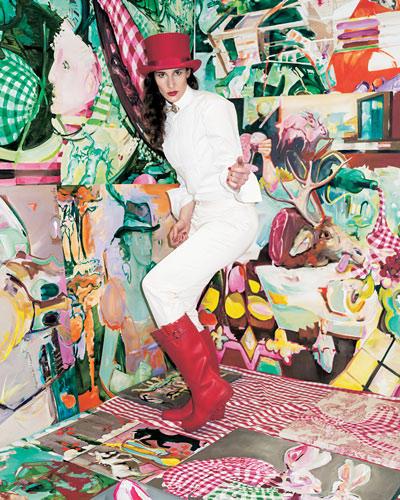 """Kunst: """"1ooo Hasen - limited edition"""" heißt das Projekt der Künstlerin Tina Oelker, eine Serie, die bei 1000 Unikaten abgeschlossen sein wird. Seit 1. Dezember 2007 malt Oelker den Feldhasen (Lepus Europaeus), zuerst täglich, dann periodisch.  Und auch auf diesem Foto aus ihrem Atelier lassen sich zwei rot und grün karierte Hasen entdecken (unten rechts)."""
