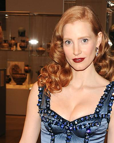 Dunkelrote Lippen: Jessica Chastain