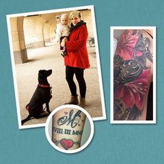 """""""Hatt du Tattoo?"""", fragten wir vor einigen Wochen unsere MOM-Fans auf Facebook. """"Ja!"""" riefen viel mehr, als wir erwartet hatten - und alle hatten eines gemeinsam: Ohne ihre Kinder gäbe es auch ihre Tätowierungen nicht. Drei Leserinnen wurden für ein Fotoshooting in der BRIGITTE MOM ausgewählt, noch mehr Tattoo-Moms mit ihren Geschichten zeigen wir hier auf den folgenden Seiten. Zum Beispiel Henriette: Die Bloggerin (supermom-berlin.blogspot.de) hat viele Tattoos auf dem Körper, zwei davon entstanden nach der Geburt ihrer Tochter Marlene. """"Mein Oberarm ist verziert mit einem Engelsflügel und einem großen Herz. Der Flügel steht dafür, dass meine Familie beschützt wird"""", erklärt sie. Am Handgelenk hat sich Henriette außerdem ein großes M und das Geburtsdatum ihrer Tochter in römischen Ziffern stechen lassen - und teilte die Schmerzen mit ihrem Mann: """"Der hat das gleiche Tattoo auf der Brust."""""""