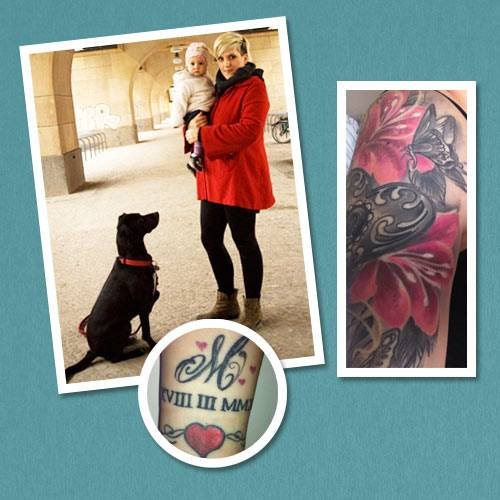 """Tattoo-Geschichten: """"Hatt du Tattoo?"""", fragten wir vor einigen Wochen unsere MOM-Fans auf Facebook. """"Ja!"""" riefen viel mehr, als wir erwartet hatten - und alle hatten eines gemeinsam: Ohne ihre Kinder gäbe es auch ihre Tätowierungen nicht. Drei Leserinnen wurden für ein Fotoshooting in der BRIGITTE MOM ausgewählt, noch mehr Tattoo-Moms mit ihren Geschichten zeigen wir hier auf den folgenden Seiten. Zum Beispiel Henriette: Die Bloggerin (supermom-berlin.blogspot.de) hat viele Tattoos auf dem Körper, zwei davon entstanden nach der Geburt ihrer Tochter Marlene. """"Mein Oberarm ist verziert mit einem Engelsflügel und einem großen Herz. Der Flügel steht dafür, dass meine Familie beschützt wird"""", erklärt sie. Am Handgelenk hat sich Henriette außerdem ein großes M und das Geburtsdatum ihrer Tochter in römischen Ziffern stechen lassen - und teilte die Schmerzen mit ihrem Mann: """"Der hat das gleiche Tattoo auf der Brust."""""""