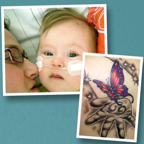 """Tattoo-Geschichten: Ein besonderes Tattoo hat sich Claudia für ihre Tochter Mia stechen lassen. """"Denn Mia war auch ein 'besonderes' Kind. Sie wurde 2007 mit Trisomie 21 geboren und hatte einen Herzfehler"""", so Claudia. Schon 2008 war Mias kurzes Leben vorbei: Sie starb an einer unheilbaren Lungenkrankheit, nach sieben Wochen Krankenhausaufenthalt. """"Anderthalb Jahre später habe ich mir das Tattoo stechen lassen"""", erzählt Claudia. """"Das Bild war eine gemeinsame Idee von mir, einem guten Freund aus Irland, und dem Tätowierer. Die Hand symbolisiert meine Hand, und das Loslassen. In der Hand ist das Zeichen für Krebs, das sieht aus wie eine 69, denn meine Tochter war Sternzeichen Krebs. Der Schmetterling steht für meine Tochter, deshalb ist er auch bunt - weil sie durch ihr Dasein selbst dunkelste Räume in Farbe getaucht hat. Der Schmetterling fliegt quasi ins Licht.""""  Vor einem Jahr hat Claudia wieder ein Kind bekommen, ihren Sohn Julius. """"Für den habe ich noch kein Tattoo, aber schon eine Idee!""""  Claudia hat über Mia auch ein Blog geschrieben: www.miahateinsmehr.blogspot.de"""