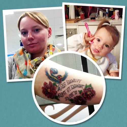 """Tattoo-Geschichten: In Franziskas Tattoo verbinden sich ihre Liebe zu Sylt, wo sie seit elf Jahren lebt, und zu ihrer Tochter Leene Bo, die vor zwei Jahren zur Welt kam: """"Das Tattoo zeigt eine Schwalbe, die für Familie und Freiheit steht. Darum herum zeigt es Pfingstrosen, die zu der Zeit blühten, als unsere Tochter geboren wurde. Der Schriftzug ist in Sylter Friesisch gestochen und heißt übersetzt: 'Alles Leben entsteht aus Leben'."""""""