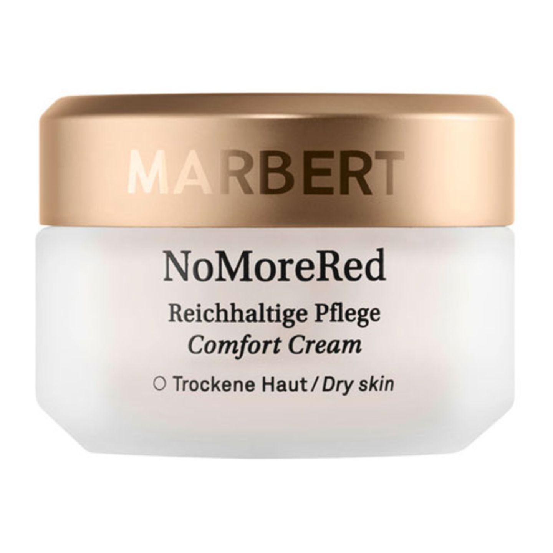 """Hagebuttenkernöl und Calendulaöl sollen regenerieren und die Barriereschicht der Haut stärken. Parabenfrei. Die """"beruhigende Pflege"""" ist für normale und Mischhaut, die """"Comfort Cream"""" für trockene Haut und die Abdeckcreme enthält Grünpigmente zur Abdeckung von Rötungen.Marbert No More Red Comfort Cream, 100 ml, ca. 35 Euro"""