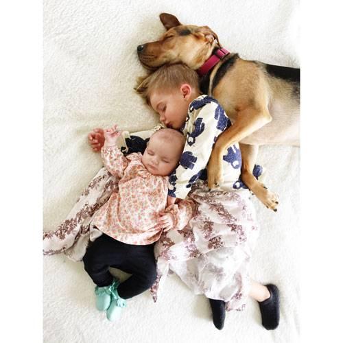 Mittagsschlaf mit Hund: Steht Ihr auch manchmal vor Euren schlafenden Kindern und könnt Euch gar nicht einkriegen, wie süß sie aussehen? Wie muss es dann erst Jessica Shyba gehen! Die US-Bloggerin von mommasgonecity.com hat vier Kinder und einen Hund namens Theo. Besonders ihre beiden jüngsten Kinder, Beau und Baby Evangeline, haben ein inniges Verhältnis zu dem knuddeligen Mischling. Jeden Tag machen die Drei gemeinsam ein Nickerchen und zwar eng umschlungen. Jessica Shyba hält diese Momente mit der Kamera fest und postet sie auf ihrem Instagram-Account.