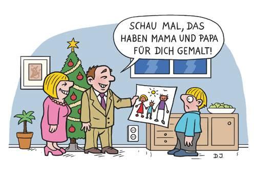 """Lustig, lustig, trallahahaha: Mit """"Cartoons über Weihnachten"""" hat der Holzbaumverlag das passende Buch herausgebracht für alle, die den weihnachtlichen Irrsinn nur mit einem hysterischen Lachen überstehen. Mit komischen Bildern von Cartoonisten wie Dominik Joswig, Michael Holtschulte, Oliver Ottitsch, Rudi Hurzlmeier, Schilling & Blum und vielen mehr. Darin werden Fragen beantwortet wie: Was bekommt eigentlich der Weihnachtsmann von seinen Elfen geschenkt? Wie baut man einen Christbaum von IKEA zusammen? Was kommt dabei heraus, wenn die Controlling-Abteilung die Weihnachtsfeier organisiert? Viel Spaß!"""