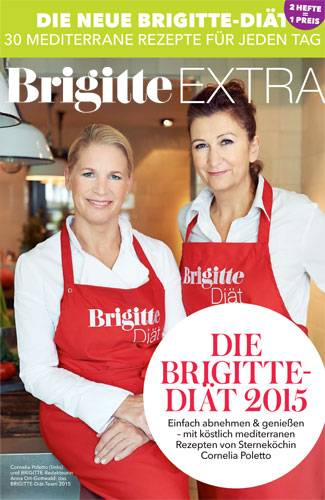 """Freuen Sie sich auf mediterrane Köstlichkeiten, die schlank machen. Es gibt zum Beispiel Gnocchi in Zitronensoße, Ingwer-Hähnchen oder Kabeljau im Salami-Mantel. Die Hamburger Sterneköchin (auf dem Foto oben links) hat diese und 19 weitere Rezepte exklusiv für die BRIGITTE-Diät entwickelt. Und BRIGITTE-Diät-Expertin Anna Ort-Gottwald (oben rechts) hat Rezepte für Frühstück und Abendbrot beigesteuert - damit Sie rund um den Tag gut versorgt sind.    Wie schon im vergangenen Jahr spielen auch bei dieser Diät """"Slow Carbs"""" und die BRIGITTE Diät-Regeln eine wichtige Rolle. Was sich dahinter verbirgt, erfahren Sie ebenfalls im Diät-Heft. Sie können es aber auch in unseren Fragen und Antworten zur BRIGITTE-Diät nachlesen.    Das 36-Seiten-Extraheft """"Die BRIGITTE-Diät 2015"""" können Sie in unserem e-Kiosk Premium downloaden (kostenlos für Heft-Abonnentinnen, sonst 3 Euro). Mit dem pdf erhalten Sie Einkaufs- und Vorratslisten für die zwei Diätpläne im Heft. Sie können die Einkaufs- und Vorratslisten aber auch separat und kostenfrei herunterladen. Erste Infos zur Diät sowie 3 Rezepte gratis haben wir auch noch für Sie. Wir wünschen viel Freude und Erfolg mit der BRIGITTE-Diät 2015!"""